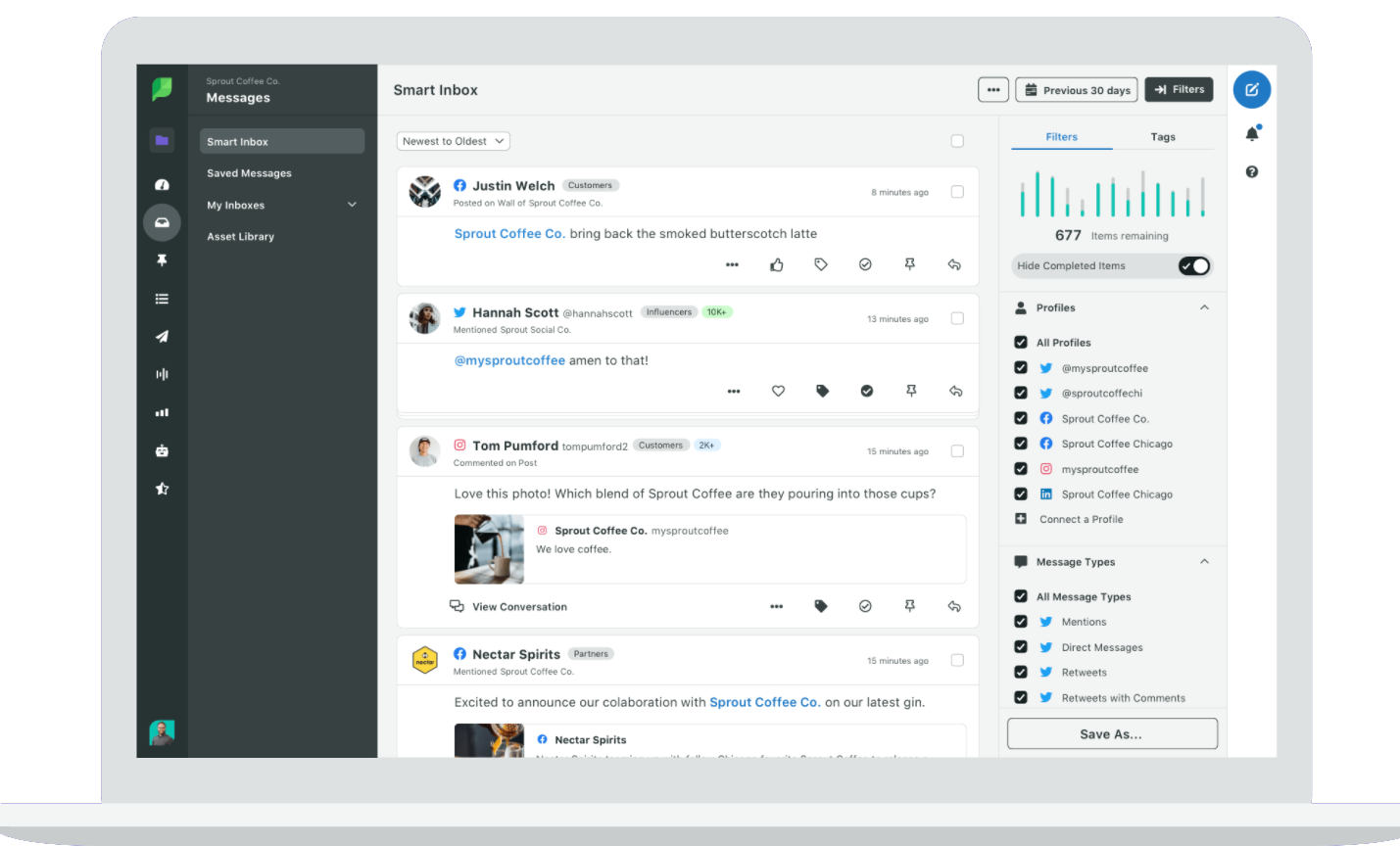 Screenshot Community Management Software von SproutSocial